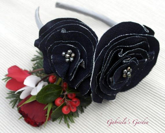 Dark Denim Flowers Headband Fascinator Dark by GabrielasGarden