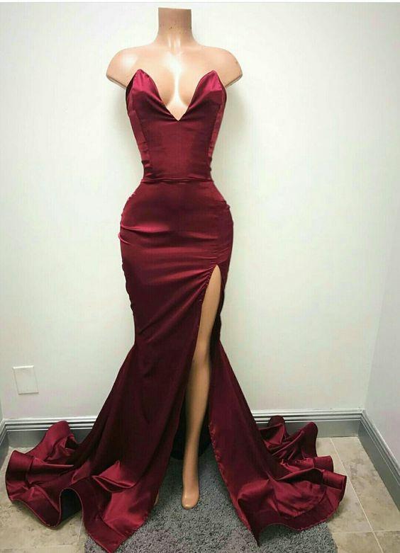 Prom Dresses,Prom Dress,Burgundy Long Floor Length Prom Dress Mermaid Evening Gowns