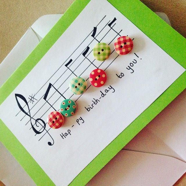 Music, happy birthday, buttons, handmade, greetings card, notes, birthday card