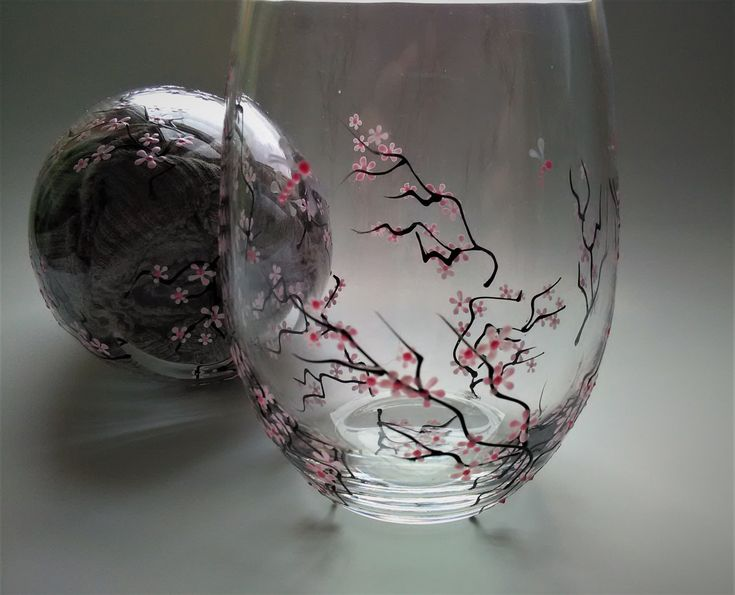 hand painted wine glasses hand painted stemless cherry blossom wine glasses decorative wine glasses wedding wine glasses