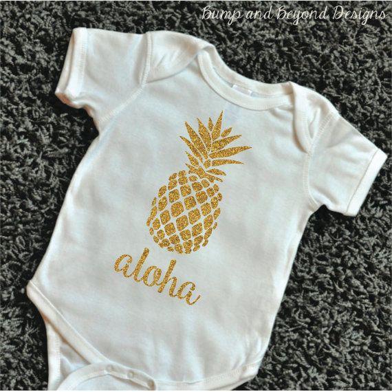 Baby Luau Outfit Pineapple Shirt Glitter by BumpAndBeyondDesigns