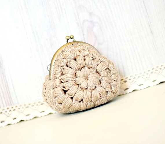 Crochet Coin Purse with Kiss Clasp Frame in by VisitingCINDERELLA