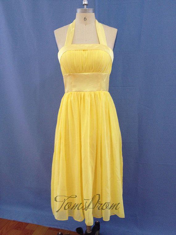 yellow bridesmaid dress junior bridesmaid dress short by TOMSPROM, $70.00