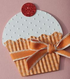 handmade card shaped like a big cup cake ... luc the orrigated texture of the cupcake paper ... Stampin' Up!