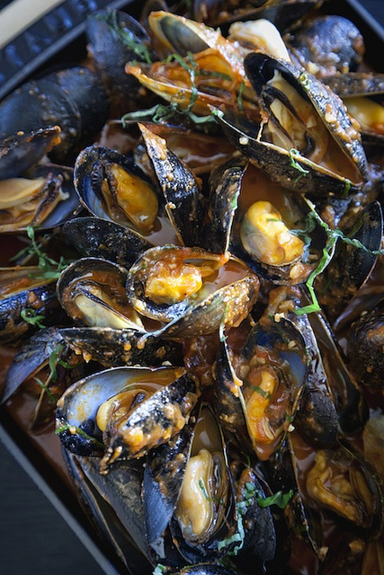 PEI mussels with roasted tomatoes, basil and ciabatta