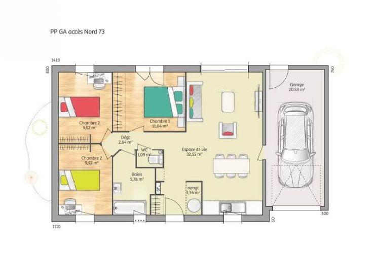 Plan de maison Open Nord PP GA accès Nord 73 so chic : Vignette 1