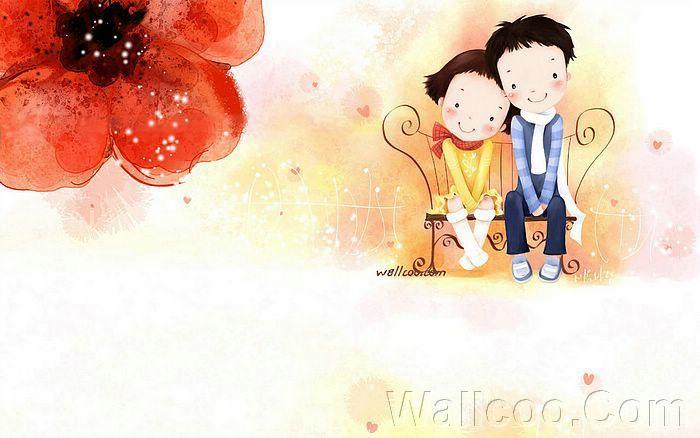 Kim Jong Bok Illustrations(Vol.04) : Sweet Puppy Love   - Childhood Sweetheart - Sweet Couples Cartoon Wallpaper  8