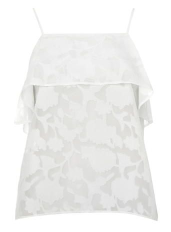 White Burnout Frill Cami Top