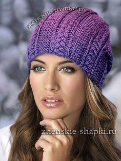 Вязание шапки спицами для женщин с описанием | Вязаные ...