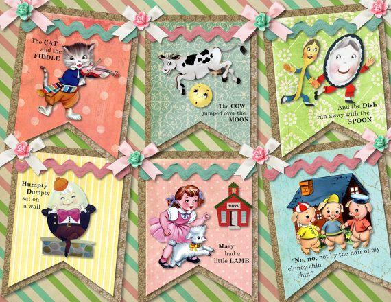 Vintage Nursery Rhyme  DIY Digital Garland by pinkpearlstudio, $4.99