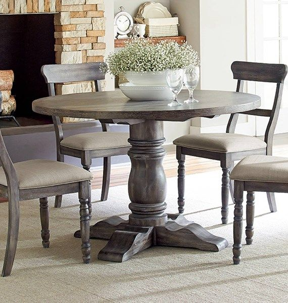 Progressive Furniture Muses Dove Grey Round Dining Table Round
