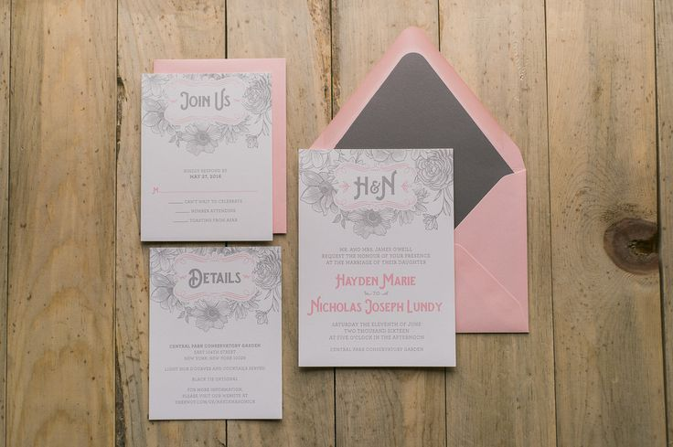 HAYDEN Suite Romantic Package Pink And Grey Wedding Invitation Floral Themed Invitation Roses