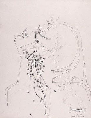 Jean cocteau -Larmes d'Orphée, 1950, dessin à l'encre de Chine