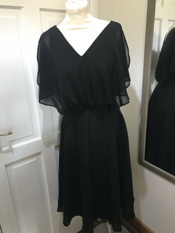 Bnwt Asos Black Floaty Dress Uk Size 8 Chiffon Style Night Out Special Occasion In 2020 Chiffon Fashion Floaty Dress Asos Black Dress