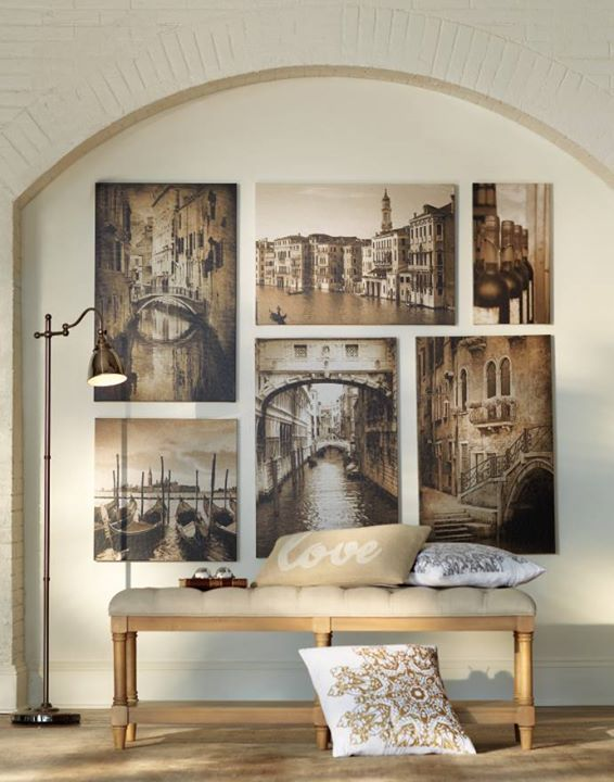 Create a focal point of scenic wall art in your entryway or hallway. HomeDecorators.com #gallerywall