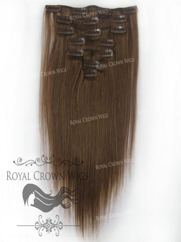 Brazilian 7 Piece Straight Human Hair Weft Clip-In Extensions in #6