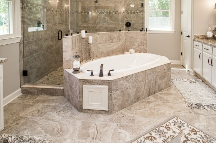 Regency Homebuilders : Master Bath, Drop-In Tub, Walk-Through Shower, Dual Shower, Shower Pebbles, Granite, Chandelier, Recessed Lighting, French Country Style, (Shaw's Creek - Winstead Plan)