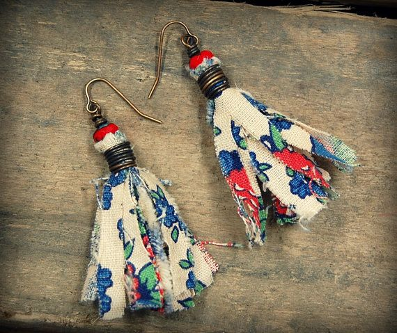 These Bohemian Style Tassel Earrings were created using fabric from a vintage quilt. The handmade tassels are wrapped in brass wire and adorned