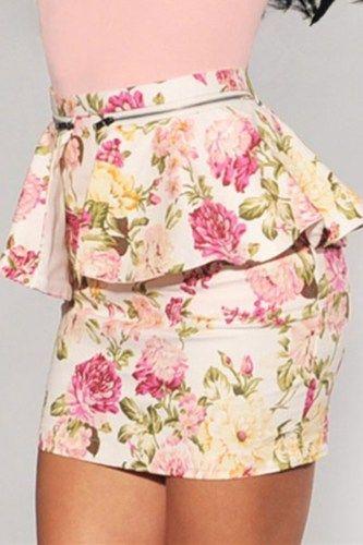 Ivory Multi-Color Floral Print Peplum Skirt