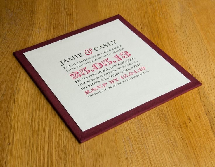 Hand made wedding invitation panel by H&Co