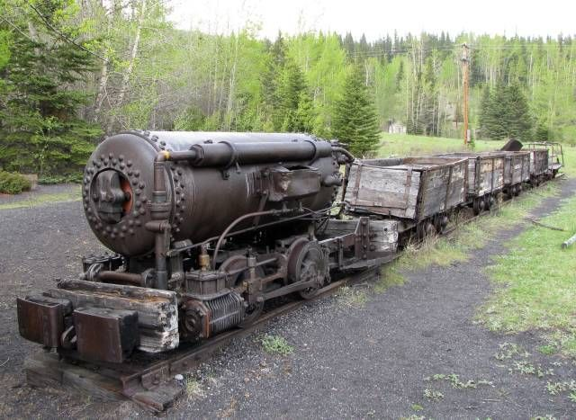 A compressed air coal train at the coal mining ghost town of Lower Bankhead in Banff National Park, Alberta, Canada.