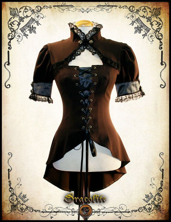 Steampunk clothing blouse steam punk medieval Miss by Dracolite, $149.00