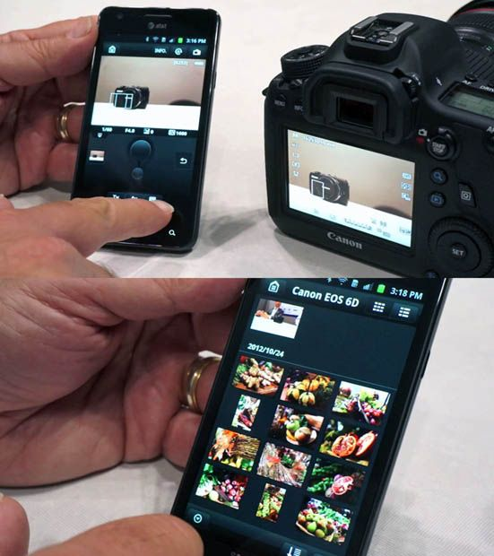 Canon 6D let's you control and shoot from your phone or iPod touch / iPad, and transfers images in real time. Love this about my camera!
