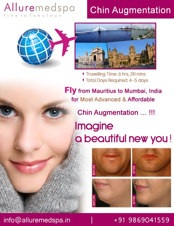 Fly to India for Chin Augmentation surgery (also known as Chin Implants, Chin Correction, Mentoplasty, Chin Improvement, Genioplasty) at affordable price/cost compare to Curepipe, Centre De Flacq, Quatre Bornes,MAURITIUS at Alluremedspa, Mumbai, India.   For more info- http://www.Alluremedspa-mauritius.com/cosmetic-surgery/face-surgery/chin-augmentation.html