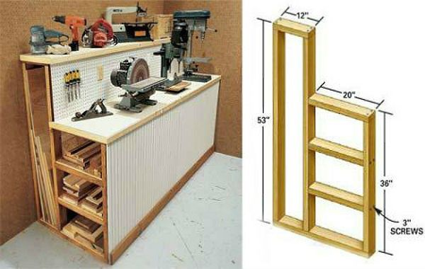 Workbench with lumber storage space or any kind of bench with long storage (fabric rolls, wrapping paper...)