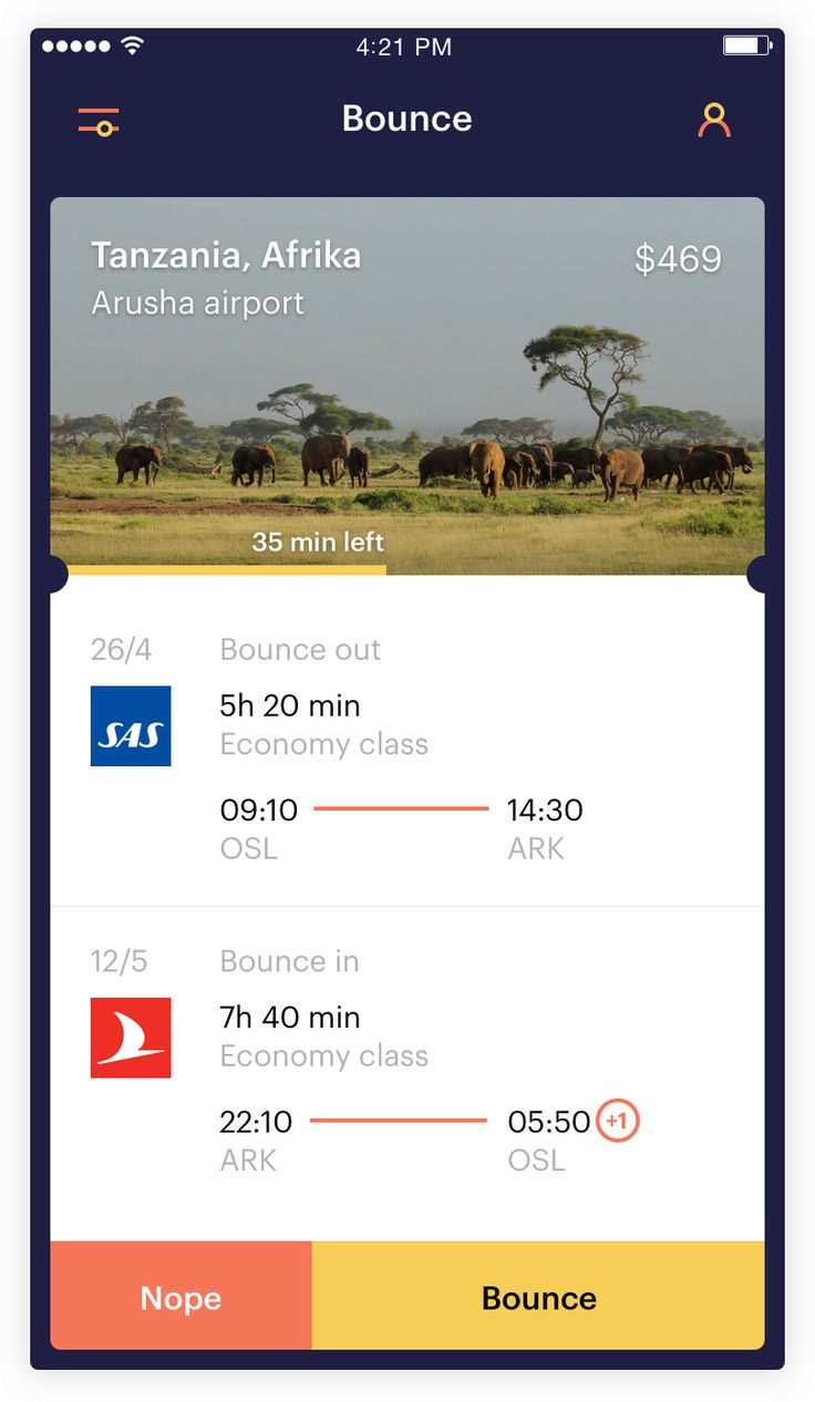 In 2016 we decided to take a punch at improving how travels go about finding flight tickets What if instead of a finding a flight ticket, the flight ticket found you? From this idea we created Bounce, an app that makes it painlessly easy to find relevant tickets without spending time on stressful flight ticket comparison sites.