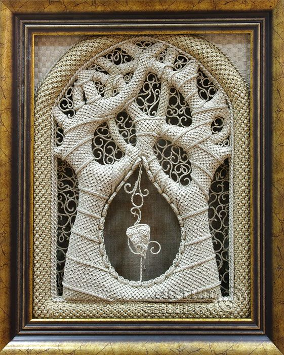 "amazing micro-macrame - `The Faith Tree` -Denshchikov Vladimir. 19.7"" x 15.7"""