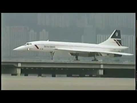 BRITISH AIRWAYS Concorde at Kai Tak (1996). Saw it come in from my office in Harbour City.