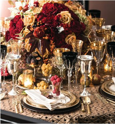 Posh Couture Rentals: Tabletop Tuesday: Baroque Beauty A lavish tablescape designed by Todd Fiscus of Todd Events, featuring Arte Italica, Gold Leaf and Gold Lace Stemware, and Dynasty 24K Gold Flatware
