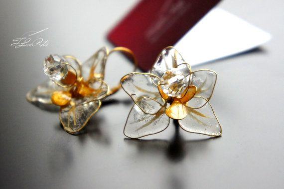 Glass earrings gold resin romantic from set transparent