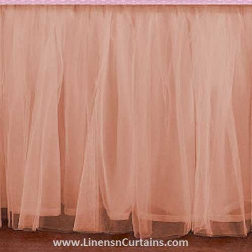 Adorable Tulle PEACH Ruffle Crib Skirt in all Sizes & Drop Lengths