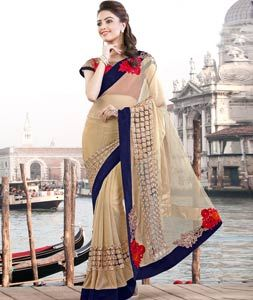 Buy Beige Lycra Party Wear Saree 77882 with blouse online at lowest price from vast collection of sarees at Indianclothstore.com.