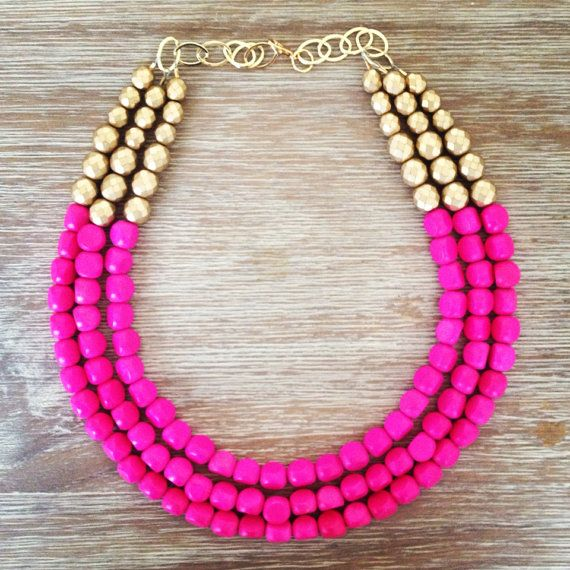 Hot Pink and Gold Statement Necklace on Etsy, $58.00