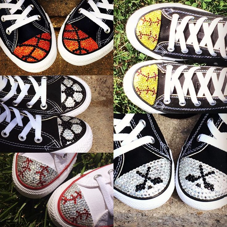 Blinged Converse Shoes for the Sports Girl! Baseball, Softball, Hockey, Soccer, and Basketball!