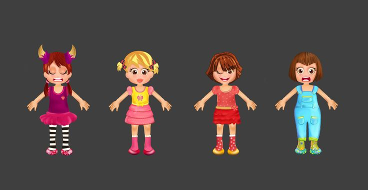 painted cute baby characters