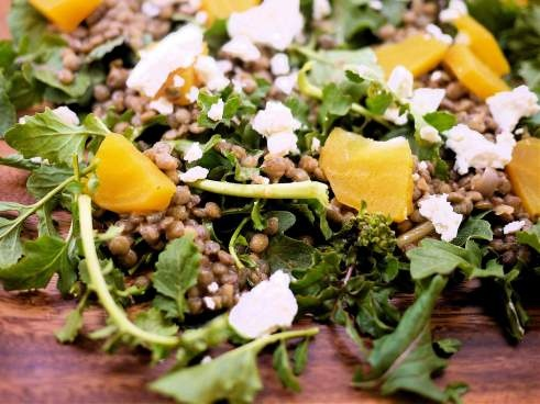 Roasted beets and black lentil salad with goat cheese and arugula