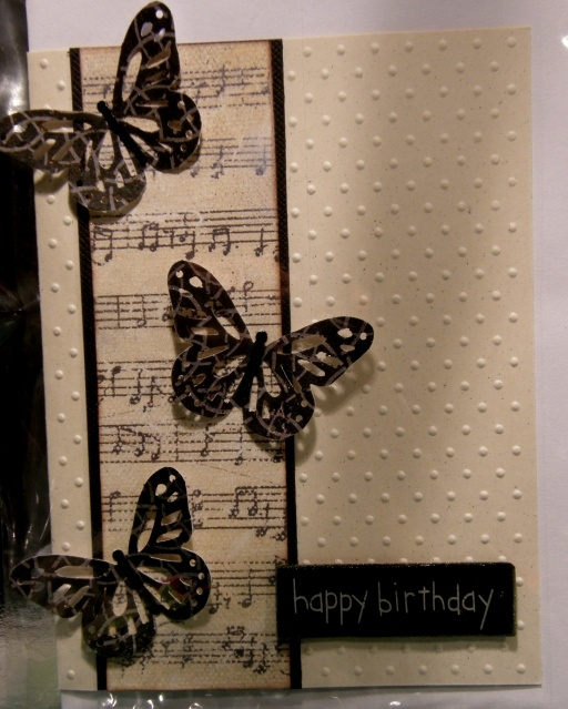 black butterfly music card
