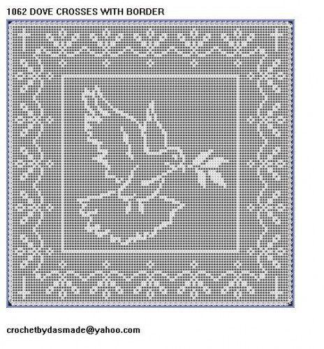 1062 Dove with crosses Filet Crochet Doily Mat table Afghan Pattern | CROCHETBYDASMADE - Patterns on ArtFire