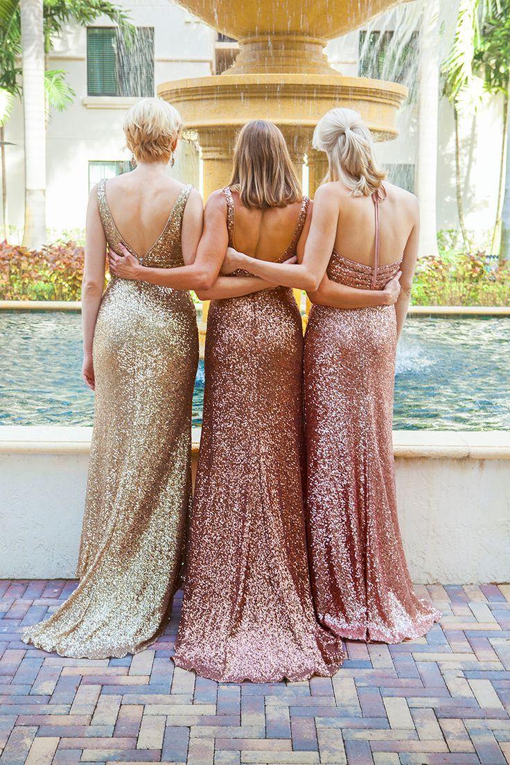 rose gold bridesmaid dresses  for fall, sequins backless wedding party dresses, elegant v neck bridesmaid dresses