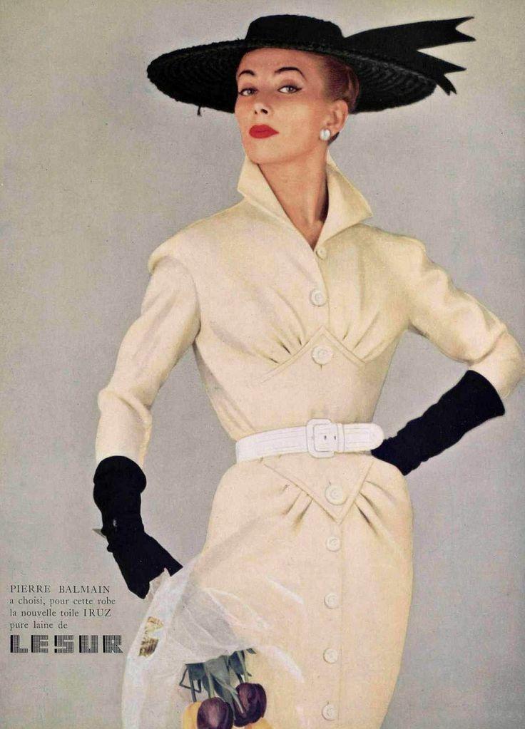 Geneviève in ivory wool dress by Pierre Balmain, photo by Tom Kublin, 1954 so perrrrfect