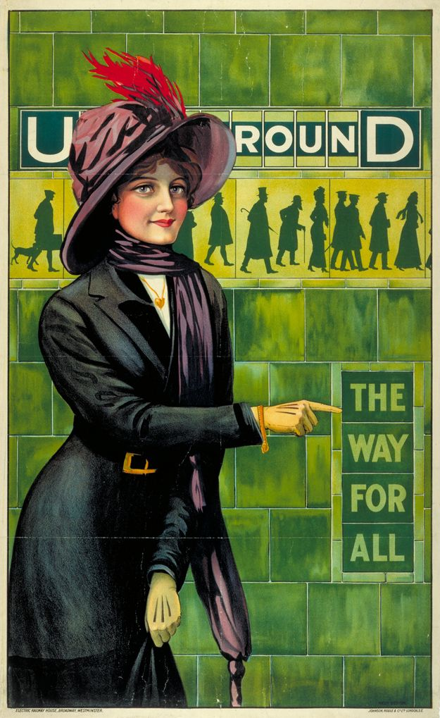 1911: 'The way for all' | 20 Gorgeous Vintage Posters For The London Underground | Pretty sure those are the Suffragette colours!