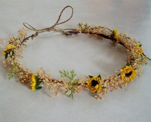 Woodland dried style SunFlower crown hair wreath Bridal wedding