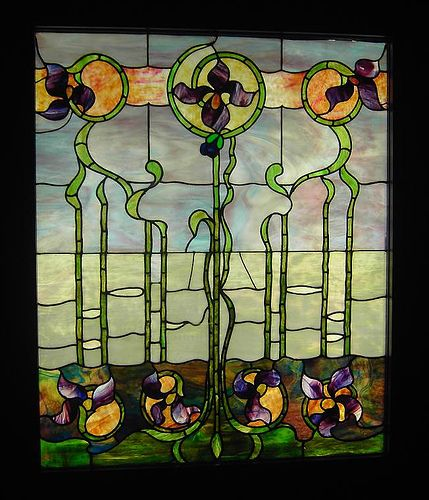 Art Nouveau-style window at the Navy Pier Stained-Glass Window Museum