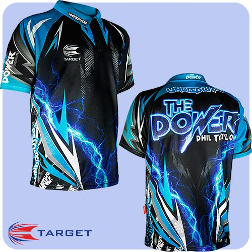 Phil Taylor - Target Authentic Replica Dart Shirt - Cool Play - XS to 5XL - Undisputed Power - Black and Blue - https://www.dartscorner.co.uk/product_info.php?products_id=19630