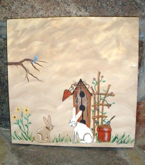 Spring Time Original Painting, 12 X 12 on Gallery Canvas, Hand Painted, Easter Bunny, Gift