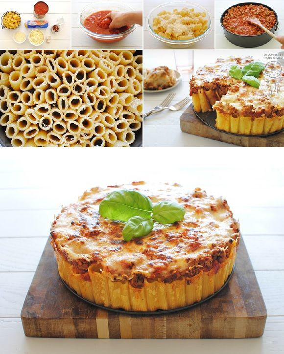 Rigatoni Pasta Pie Soo original and ingenious…it looks like a cake. Use your skills and try to make this recipe with this special design, especially if you want to surprize someone. I tried this recipe twice and was a real success. The second time I replaced beef with chicken and it also was very tasty.